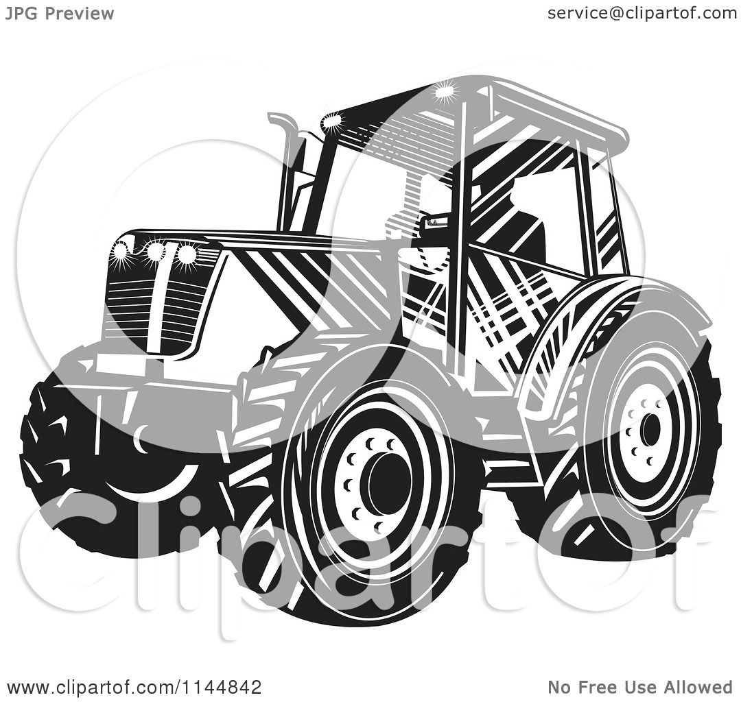 Tractor Cart Clip Art : Clipart of a black and white tractor royalty free vector