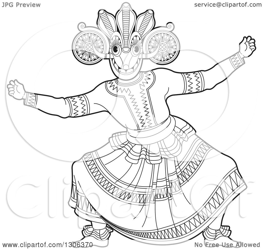 Clipart Of A Black And White Traditional Sinhala Devil Dancer In A Horned Mask 2 Royalty Free Vector Illustration By Lal Perera 1306370
