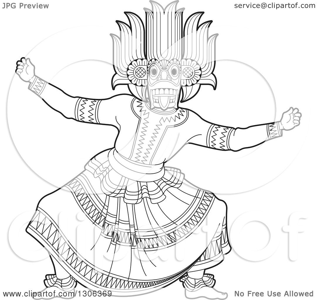 Clipart Of A Black And White Traditional Sinhala Devil Dancer In A Horned Mask Royalty Free Vector Illustration By Lal Perera 1306369