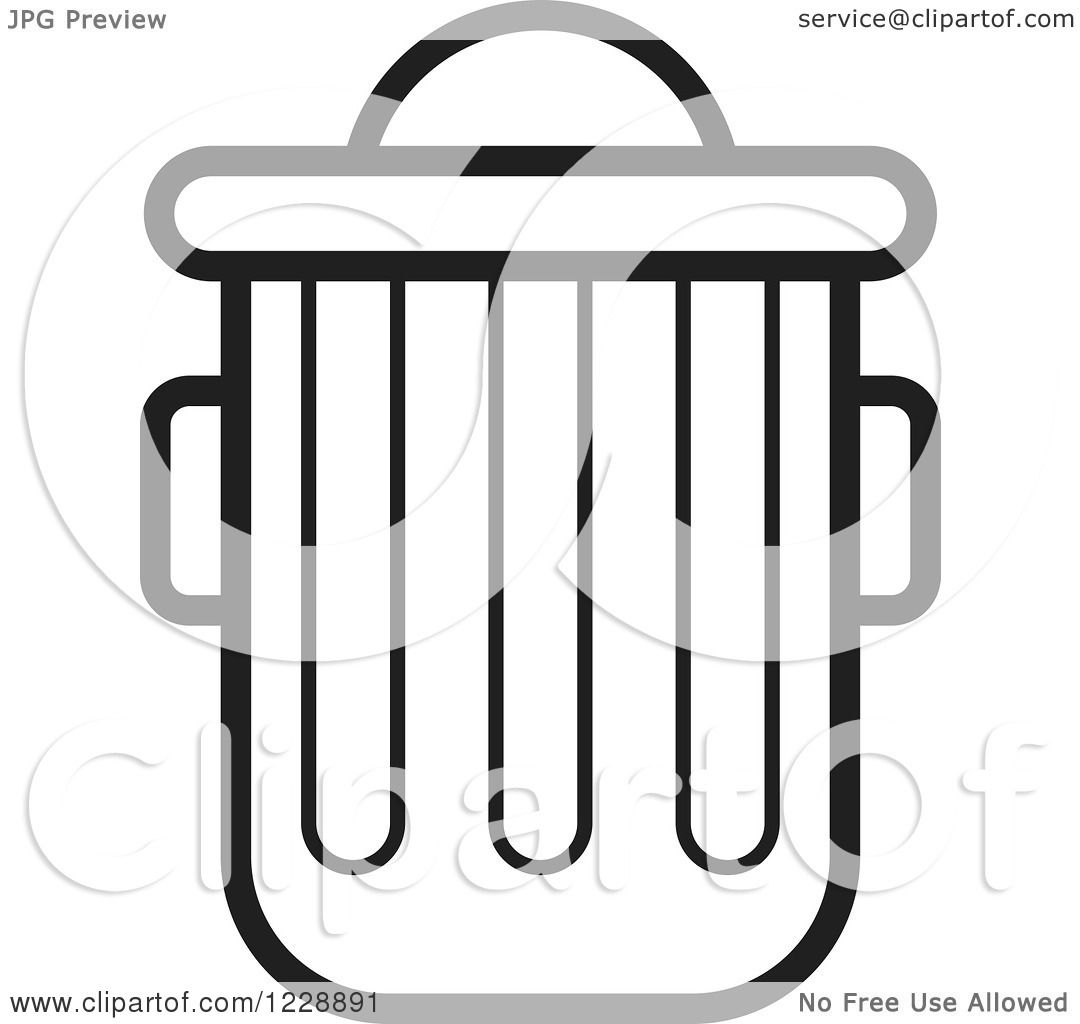 Clipart of a Black and White Trash Can Icon - Royalty Free ...