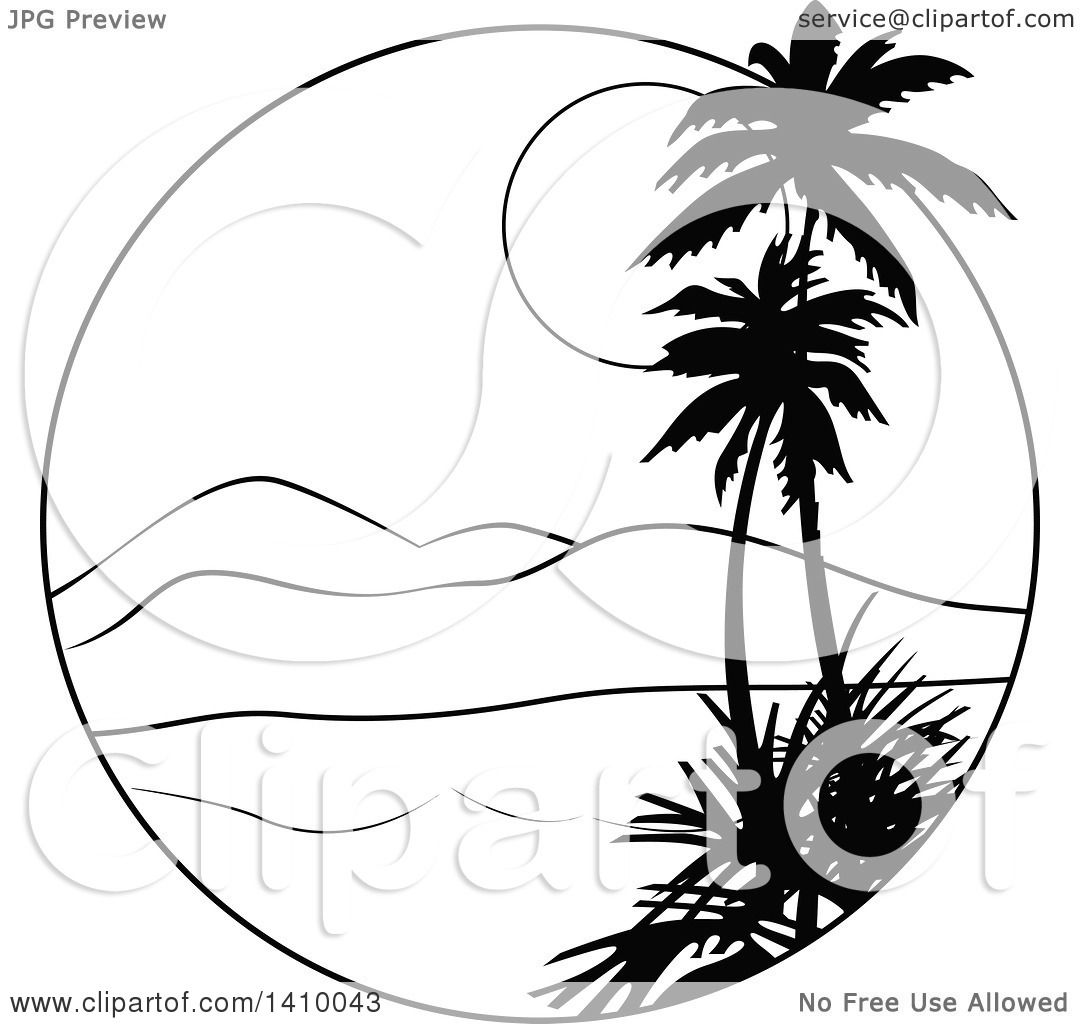 Clipart Of A Black And White Travel Design Palm Trees Bay Mountains Sunset