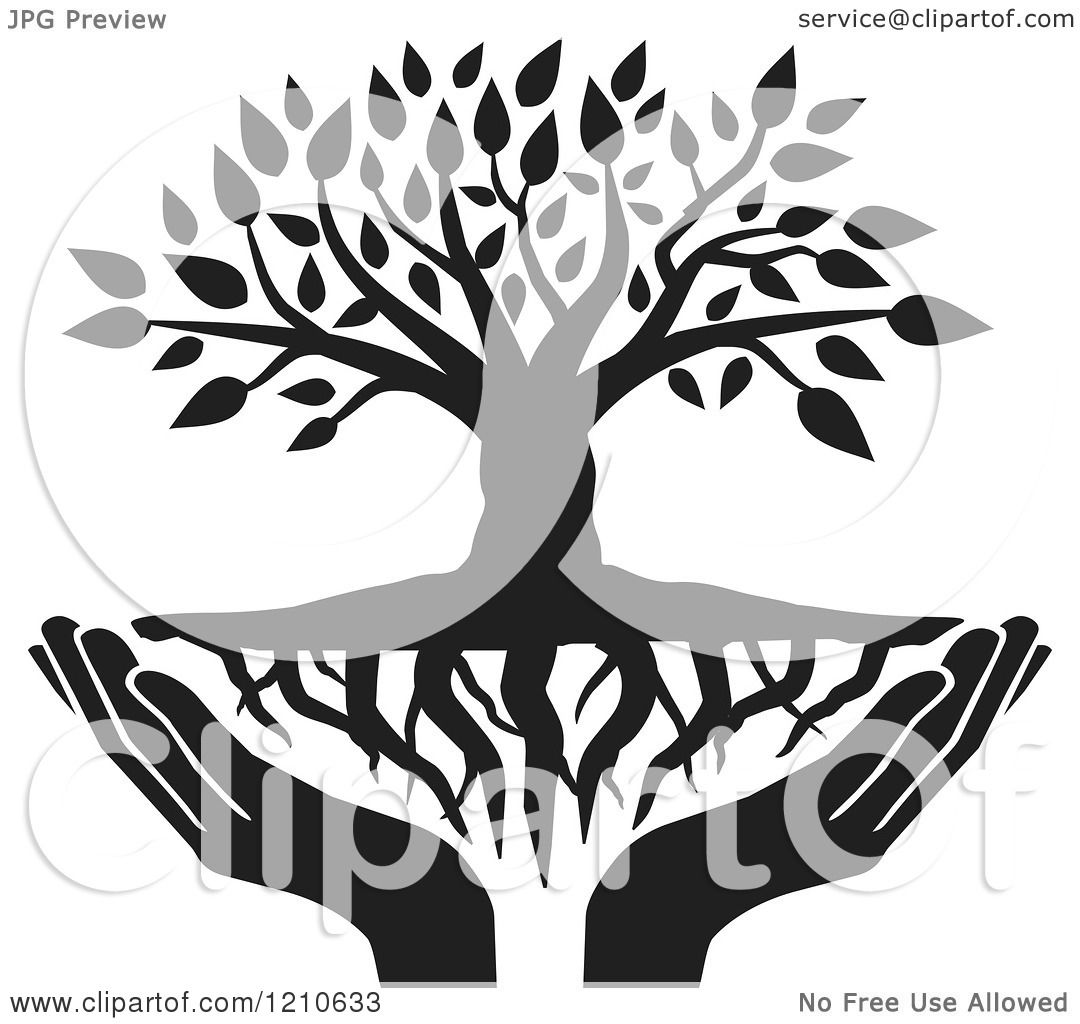 Clipart of a Black and White Tree with Roots and Uplifted ...