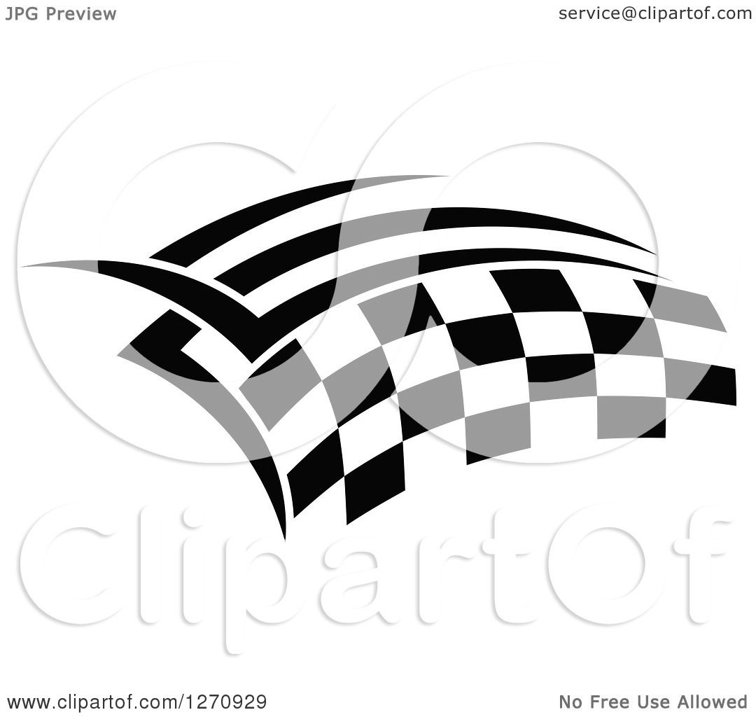 Clipart Of A Black And White Tribal Checkered Racing Flag