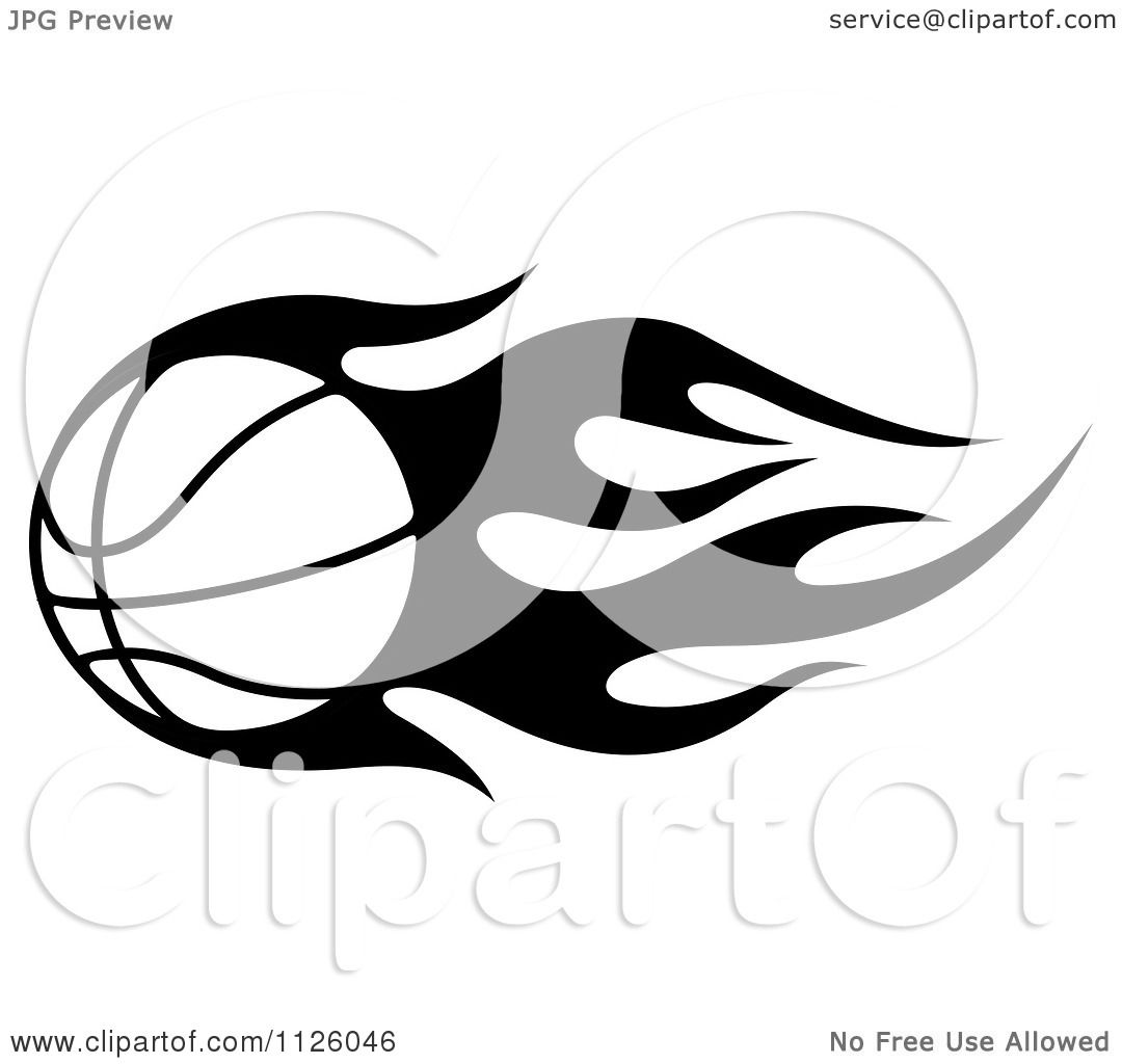 Clipart Of A Black And White Tribal Flaming Basketball 4 - Royalty ...