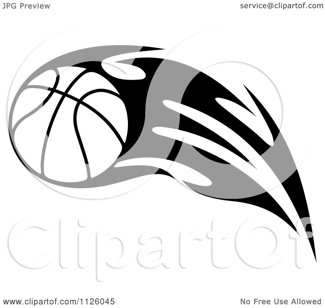 Clipart Of A Black And White Tribal Flaming Basketball 6 - Royalty ...