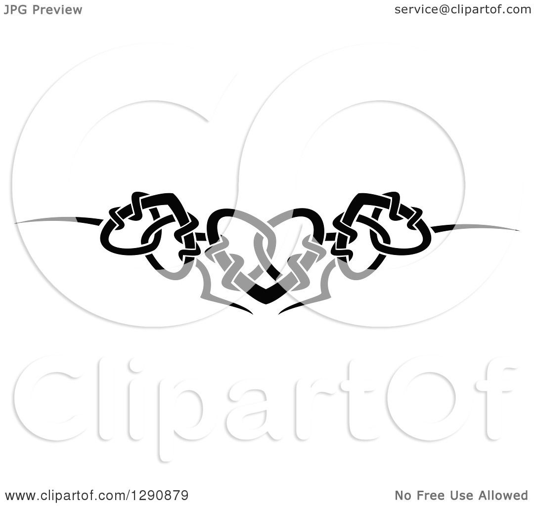 clipart of a black and white tribal heart border design 2