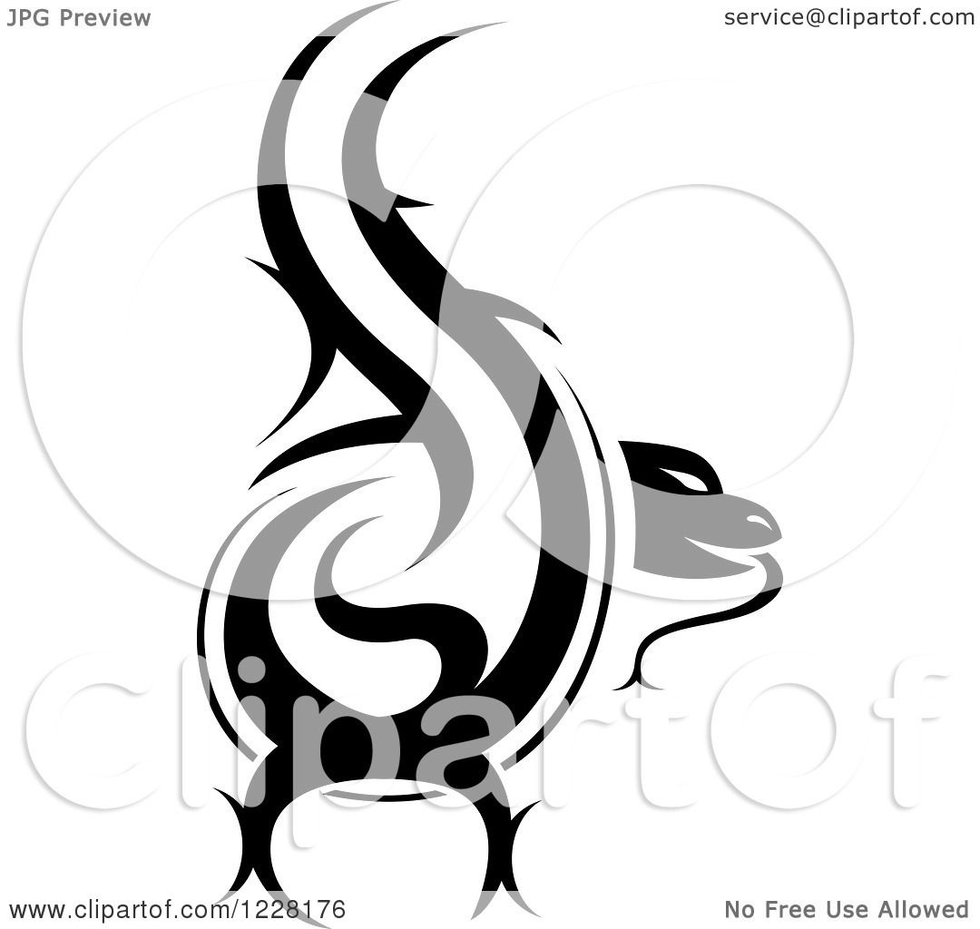Tattoo Clipart Black And White: Clipart Of A Black And White Tribal Lizard Tattoo Design