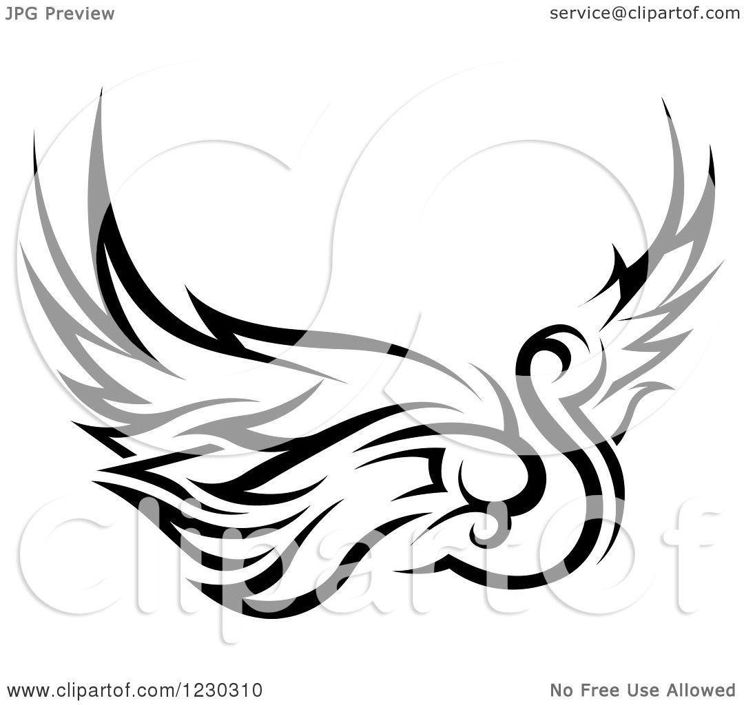 Clipart Of A Black And White Tribal Swan Tattoo Design