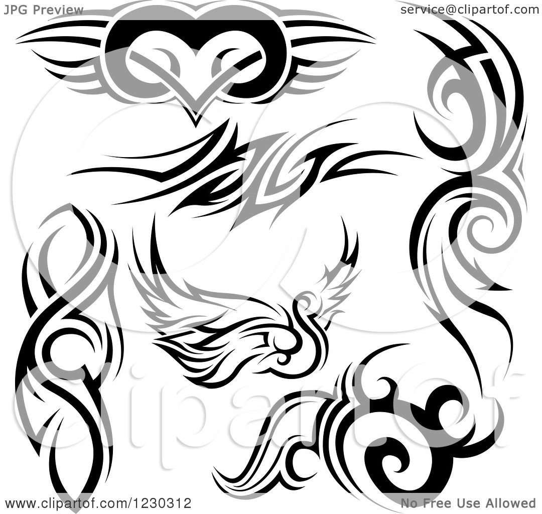 clipart of a black and white tribal winged heart swan and tattoo designs royalty free vector. Black Bedroom Furniture Sets. Home Design Ideas