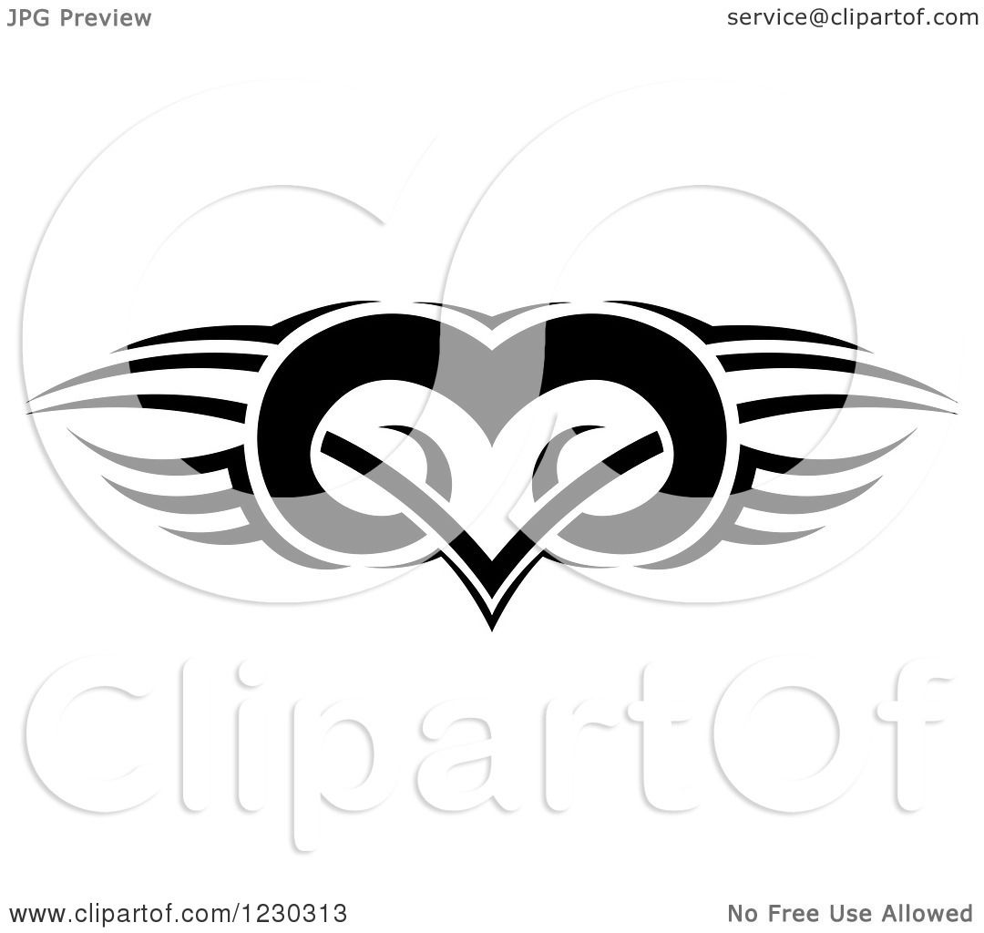 clipart of a black and white tribal winged heart tattoo design royalty free vector. Black Bedroom Furniture Sets. Home Design Ideas