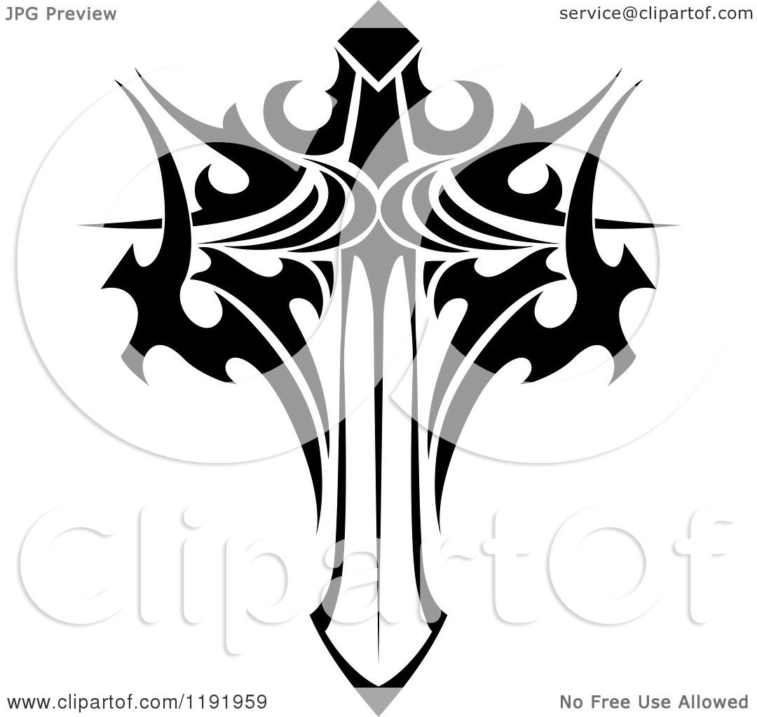 Winged sword tattoo in tribal style Royalty Free Vector