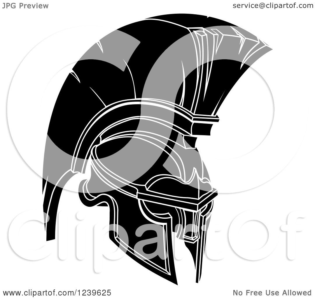 Clipart of a Black and White Trojan Spartan Helmet - Royalty Free ...