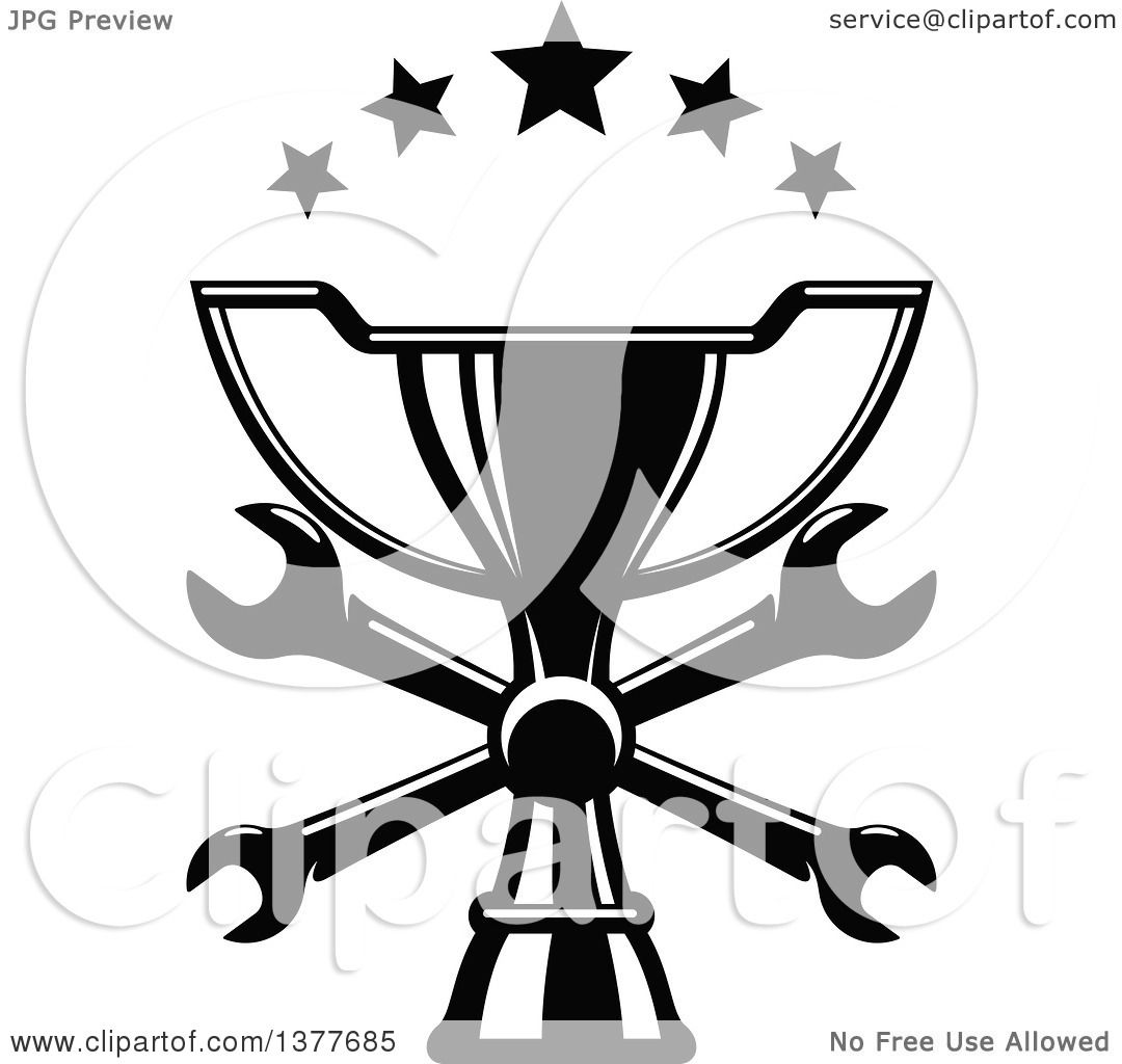 Clipart Of A Black And White Trophy With Crossed Wrenches And Stars