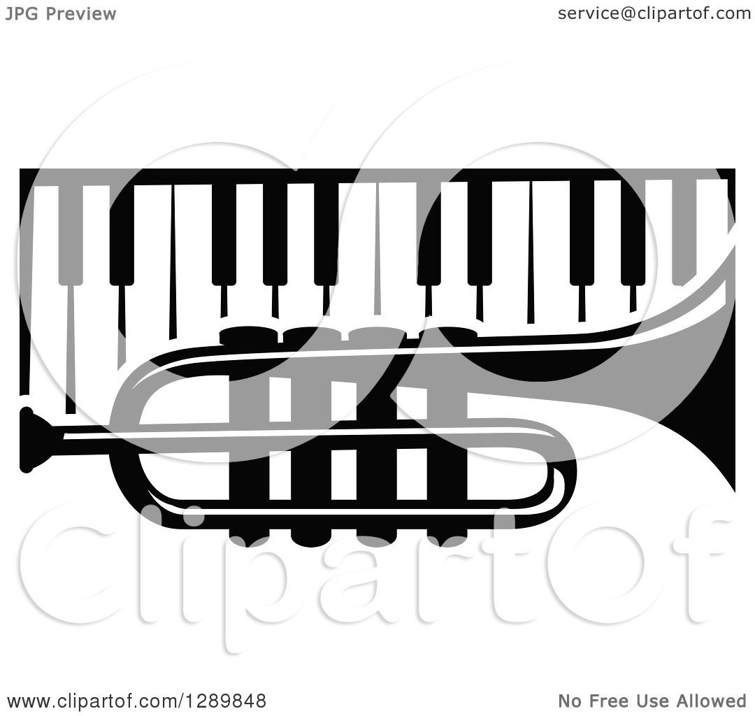 Music Keys And Notes By Seamartini Auto Electrical Wiring Diagram Maxon Lift 080552650 Clipart Of A Black White Trumpet Over Piano