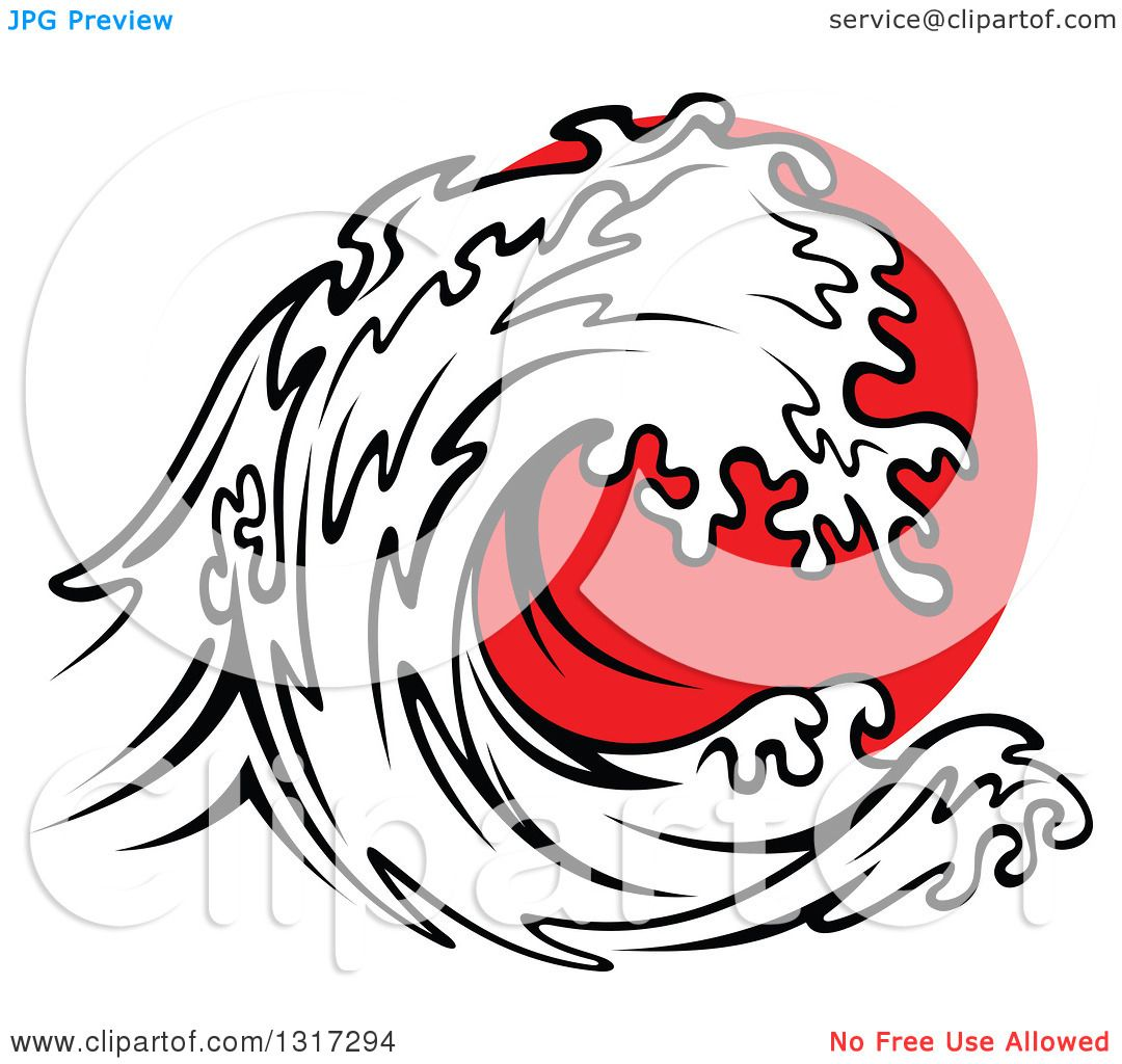 Clipart of a Black and White Tsunami Wave over Red ...