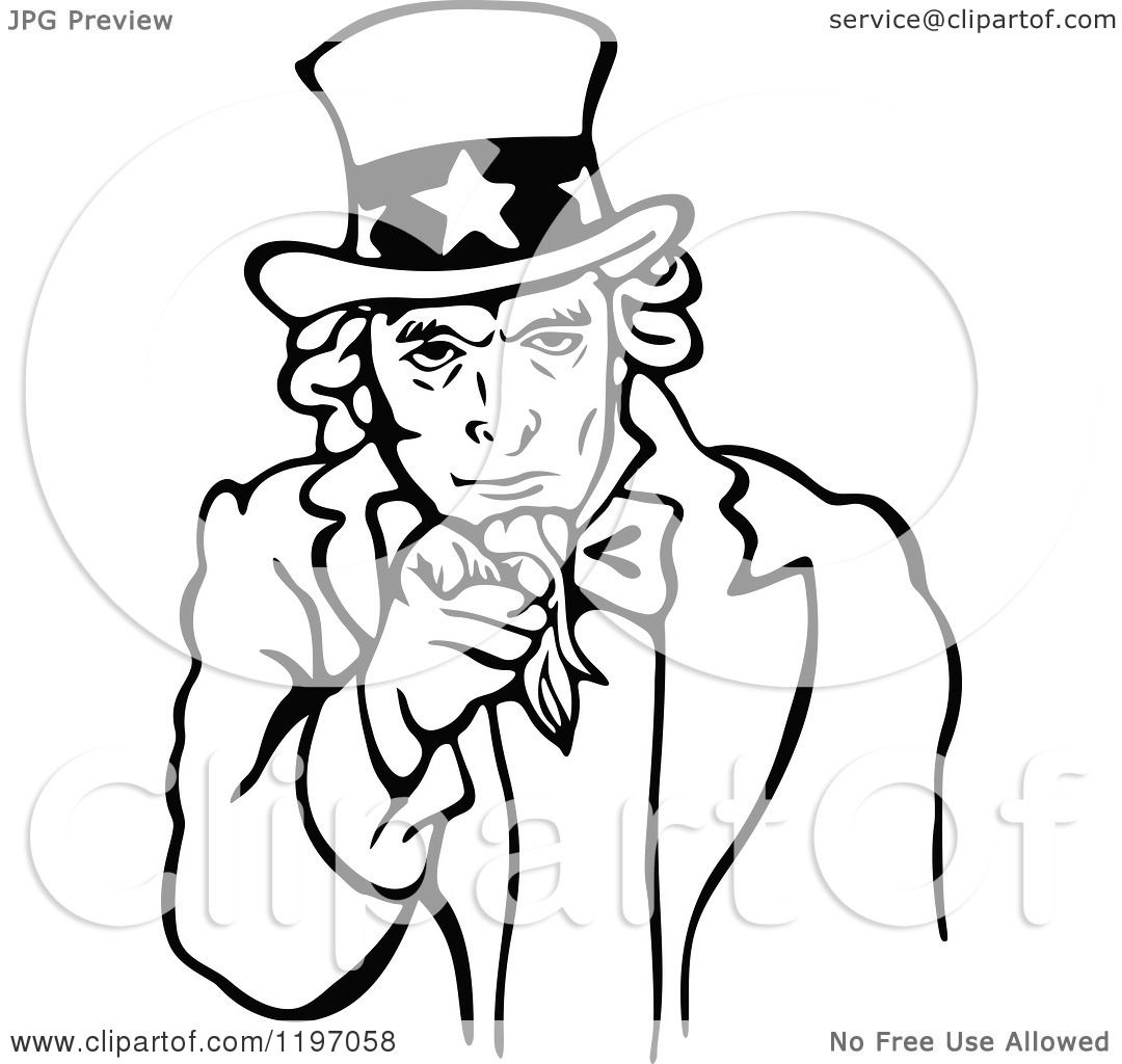 Clipart of a Black and White Uncle Sam Pointing Outwards - Royalty ...
