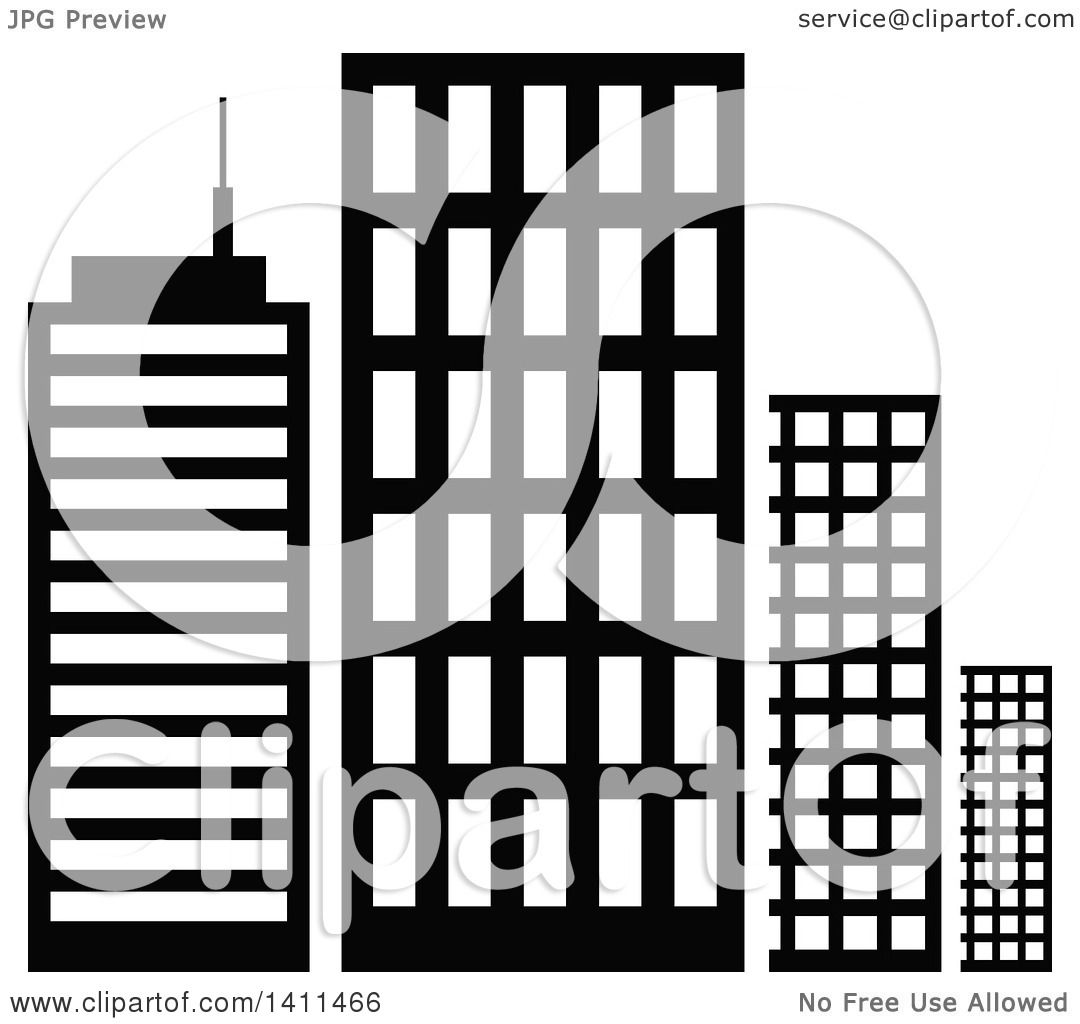 Clipart of a Black and White Urban Building Icon - Royalty ...