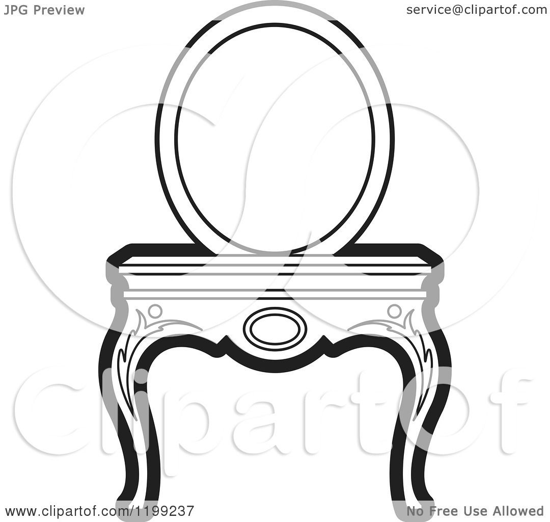 Clipart Of A Black And White Vanity Table And Mirror Royalty Free