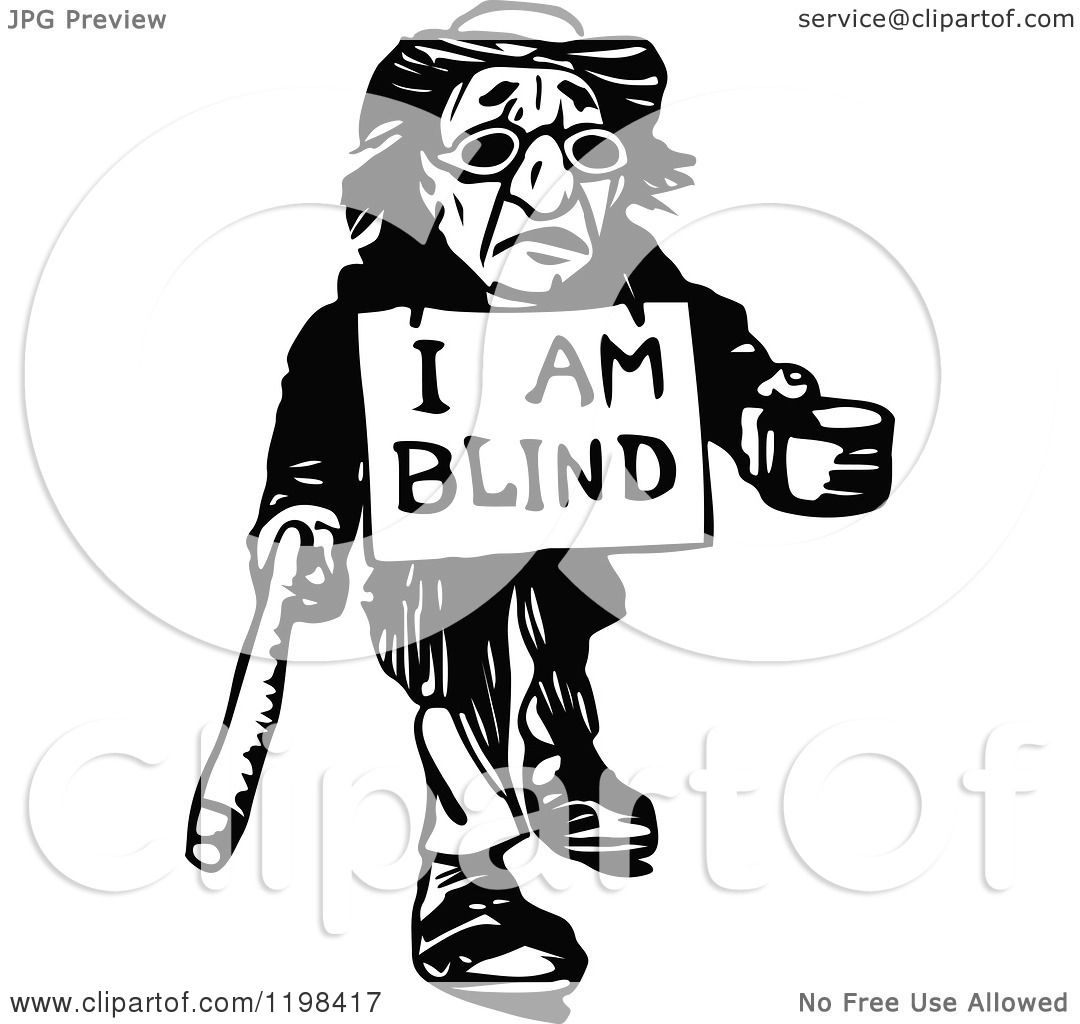 Clipart Of A Black And White Vintage Blind Man Begging