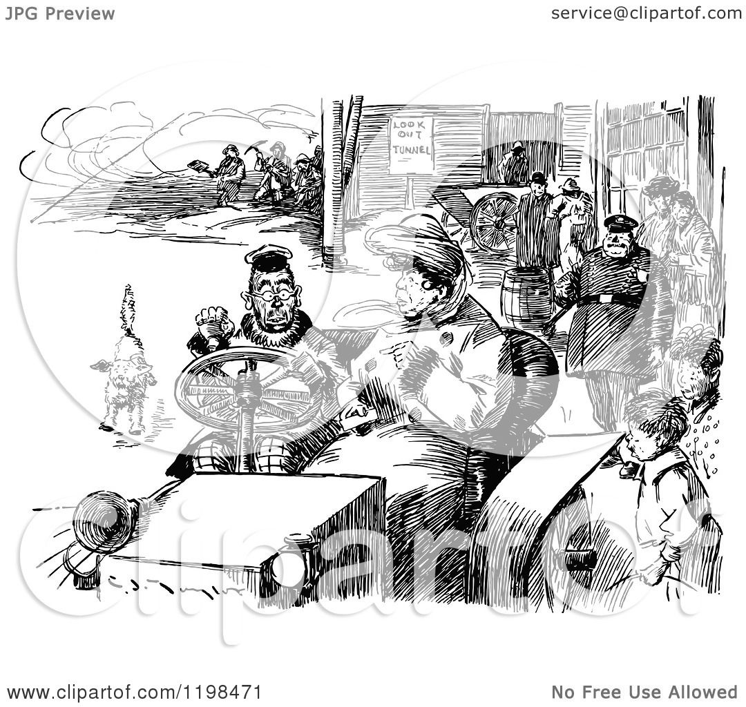 Clipart Of A Black And White Vintage Busy Street Scene