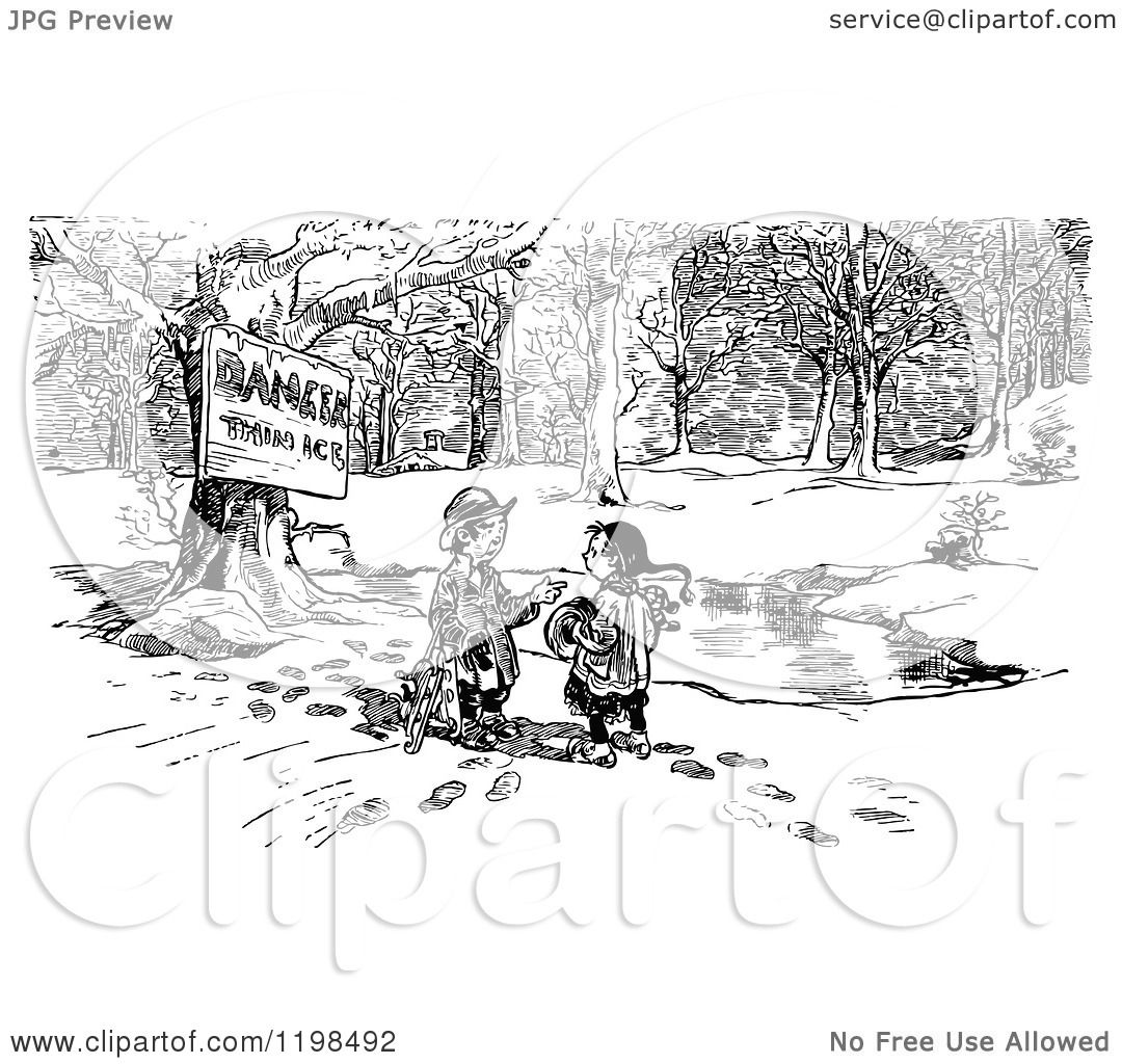 Clipart Of A Black And White Vintage Danger Thin Ice Sign