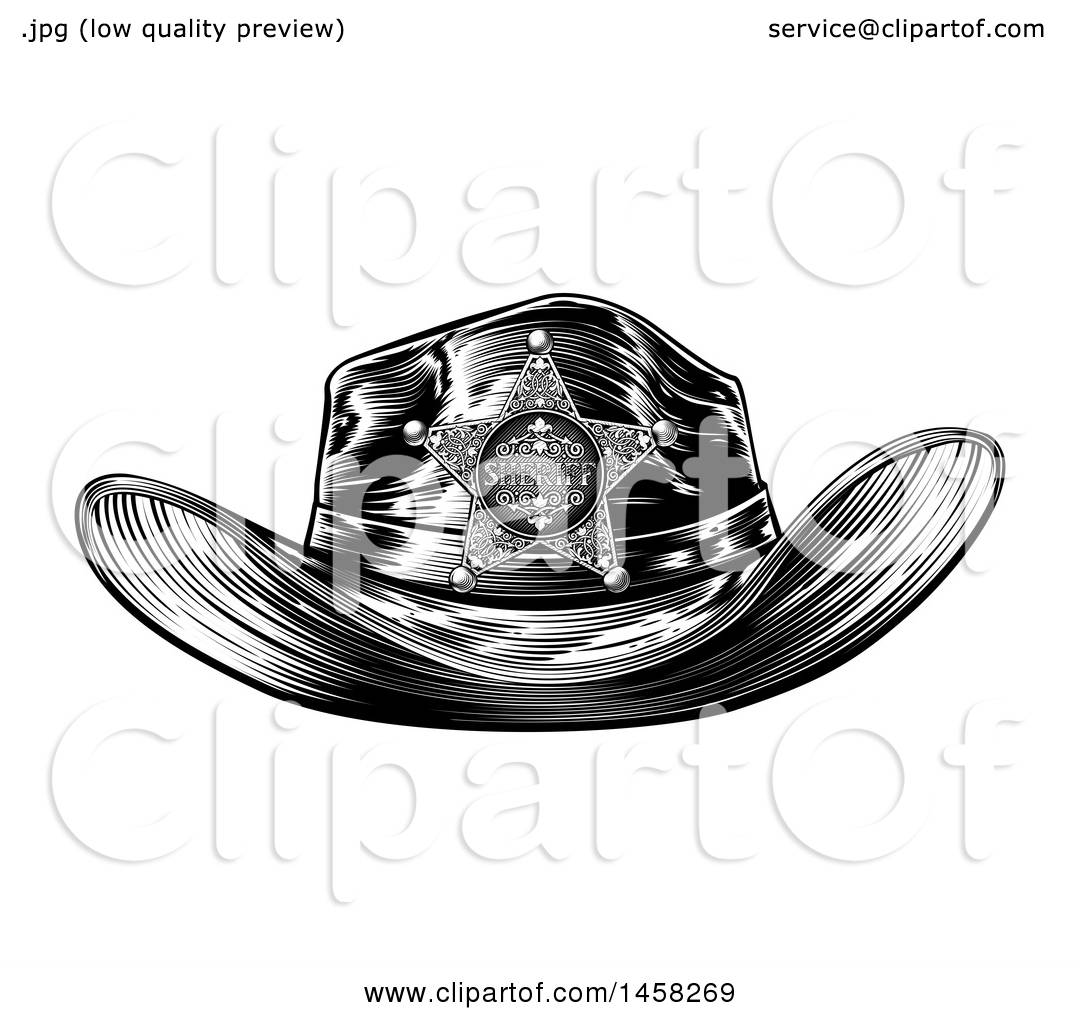 52b11b11 Clipart of a Black and White Vintage Engraved Sheriff Hat - Royalty Free  Vector Illustration by