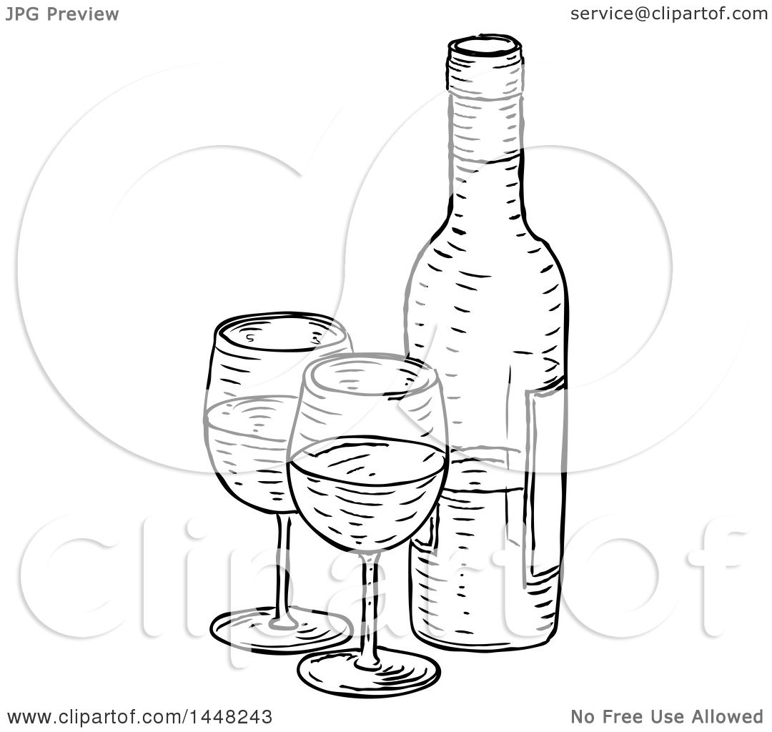 Clipart Of A Black And White Vintage Engraved Wine Bottle Glasses