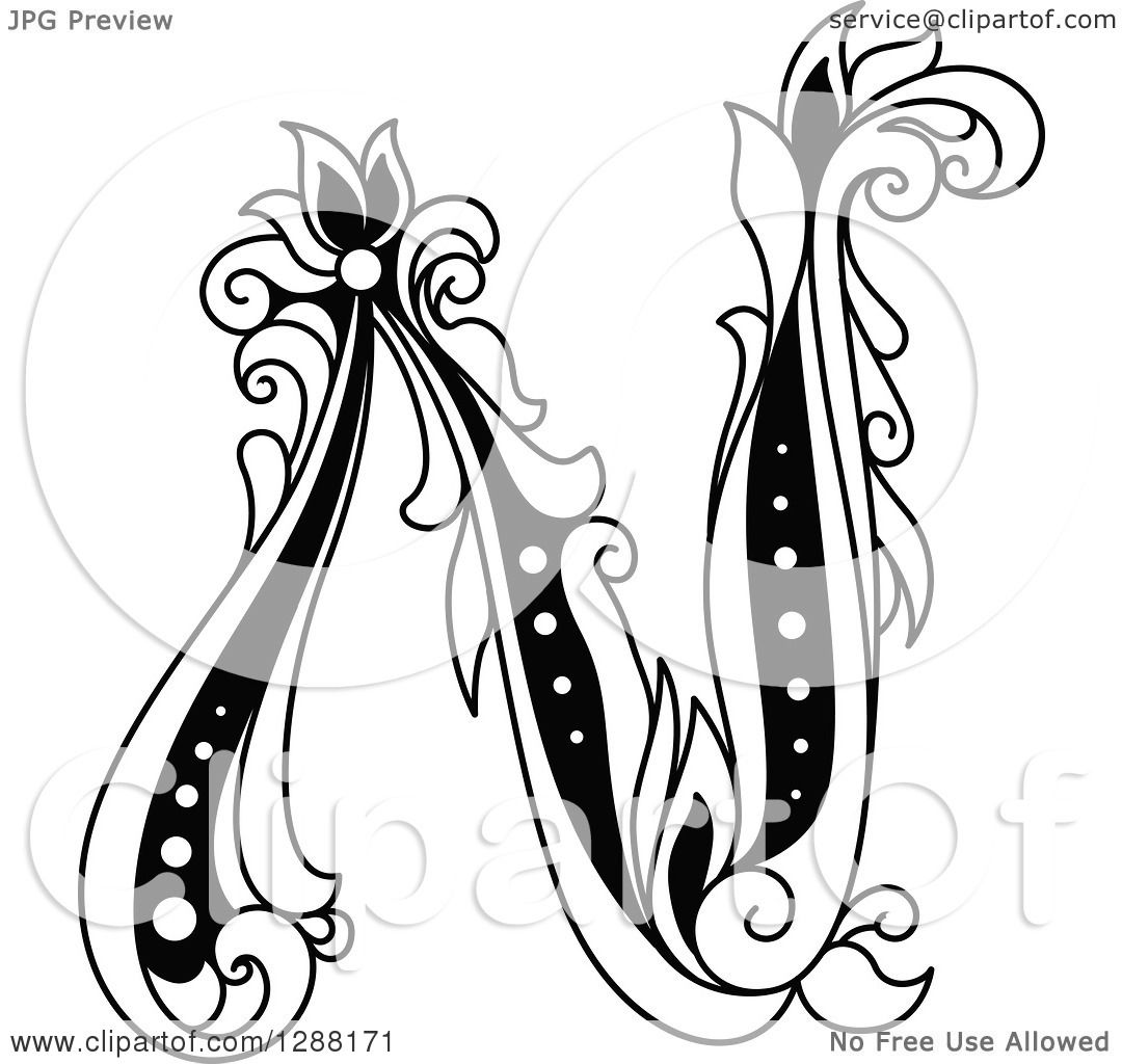 Clipart of a Black and White Vintage Floral Capital Letter ...