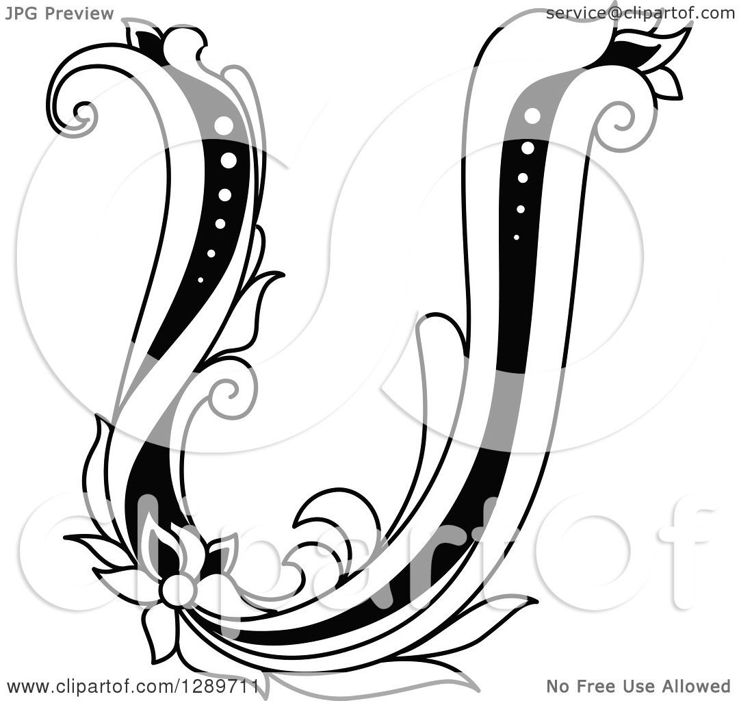 Clipart Of A Black And White Vintage Floral Capital Letter U