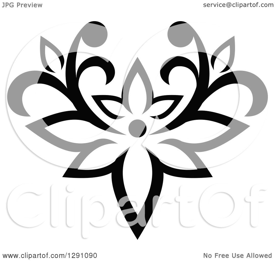 Clipart Of A Black And White Vintage Flower Design Element 10