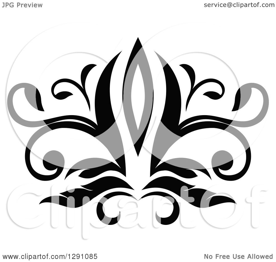 Clipart Of A Black And White Vintage Flower Design Element 6