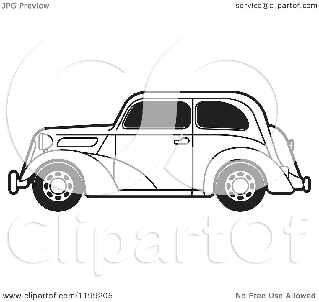Black And White Ford: Clipart Of A Black And White Vintage Ford Car With Tinted