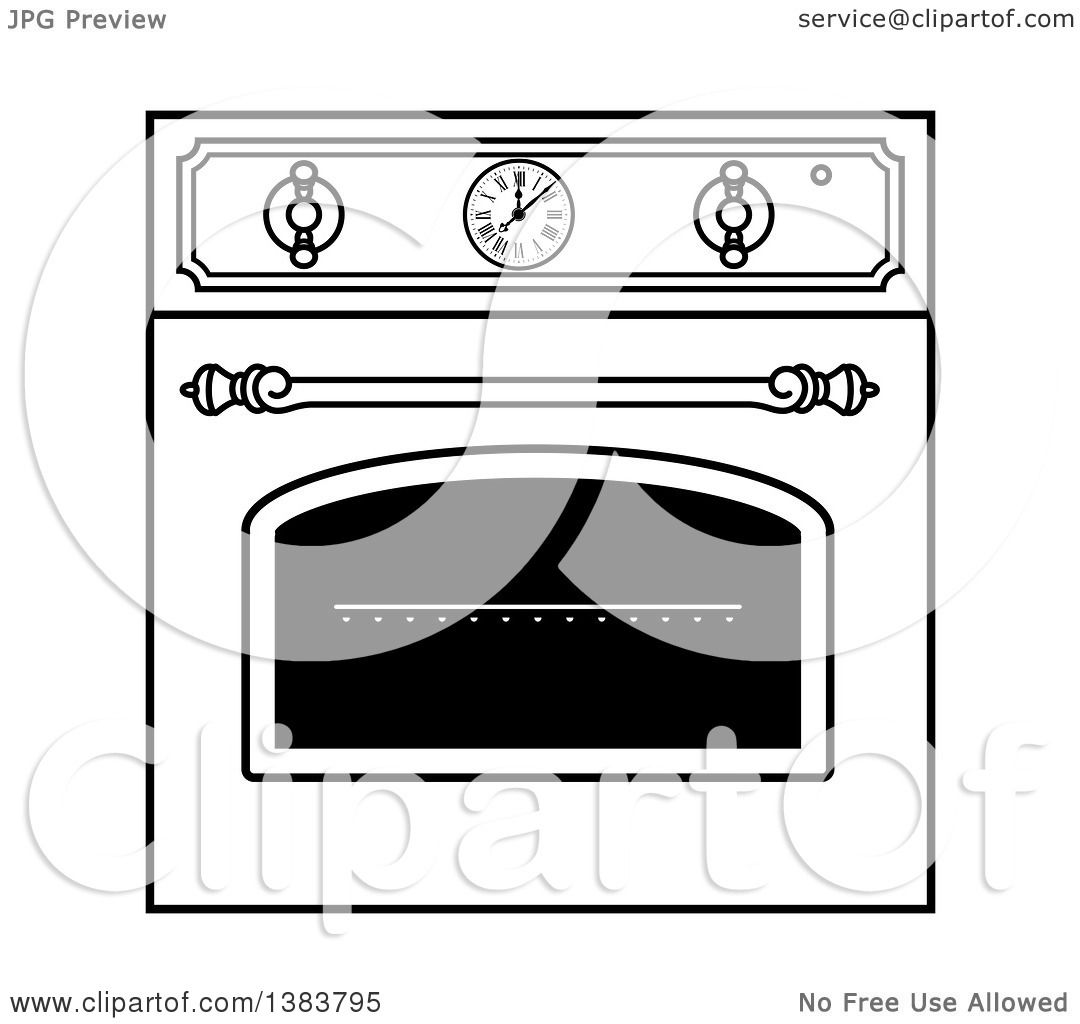 Kitchen Wall Clip Art: Clipart Of A Black And White Vintage Kitchen Wall Oven