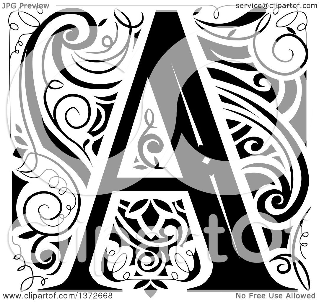 Clipart of a Black and White Vintage Letter a Monogram ...