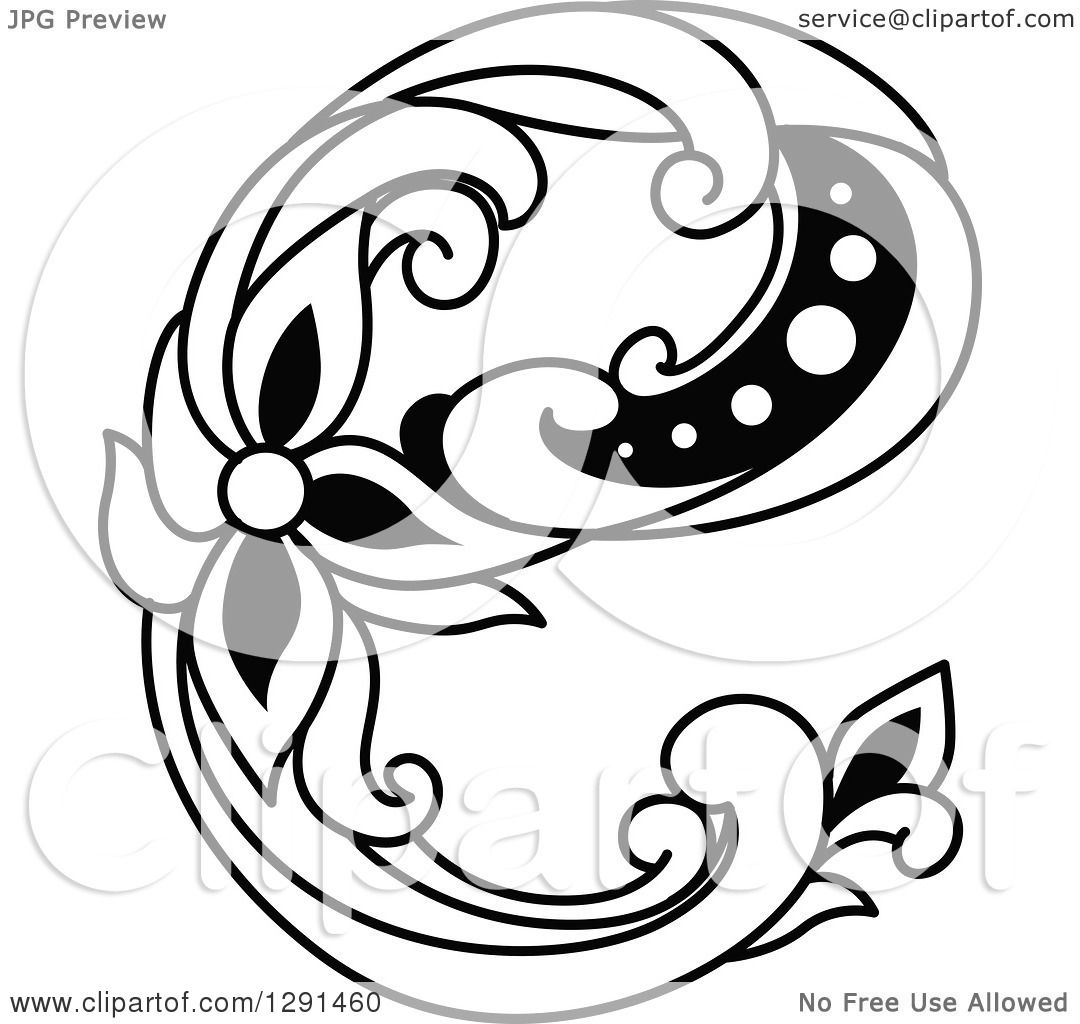 clipart of a black and white vintage lowercase floral letter e