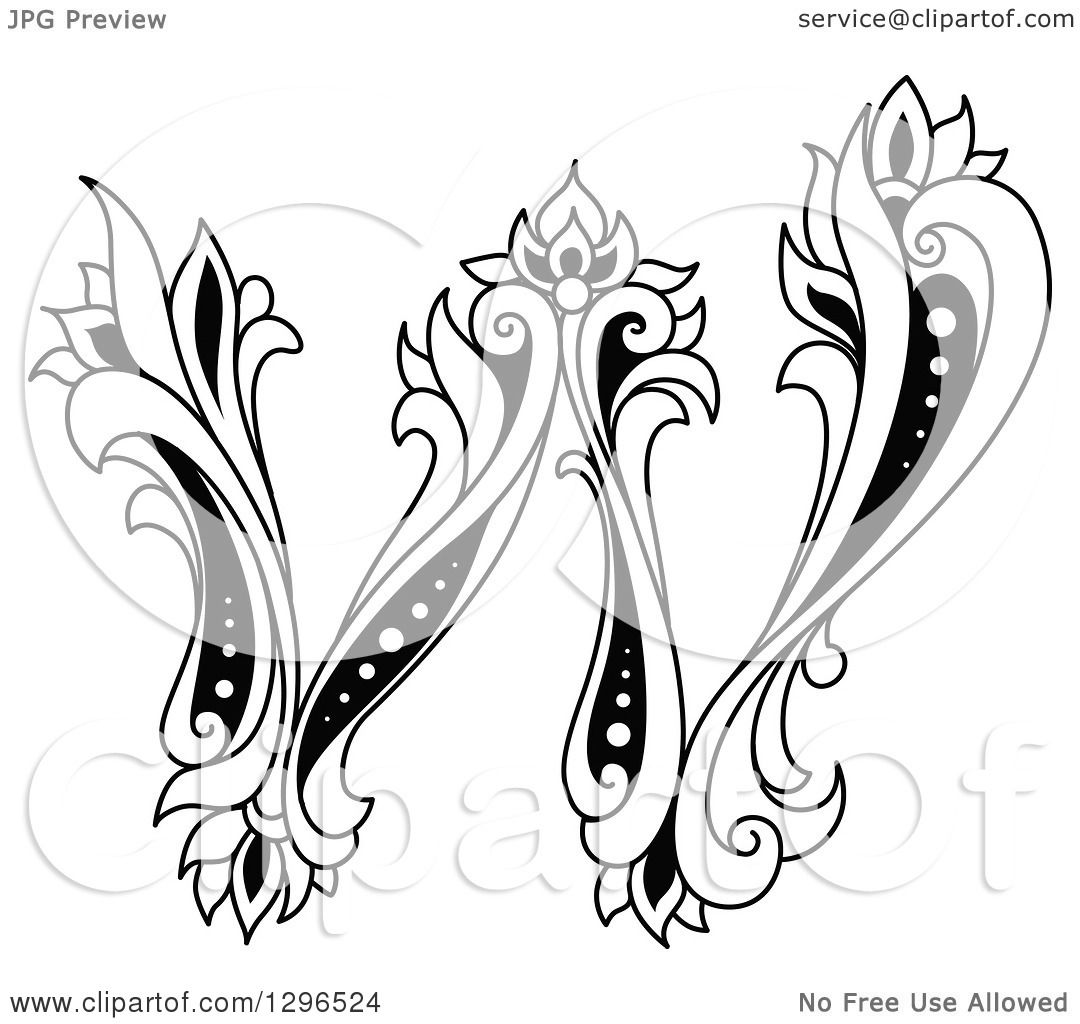 Clipart Of A Black And White Vintage Lowercase Floral Letter W