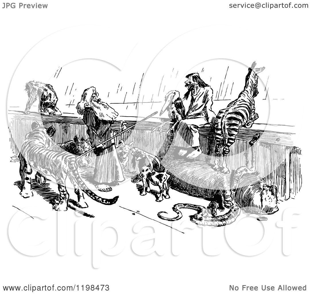 Clipart Of A Black And White Vintage Scene On Noahs Ark