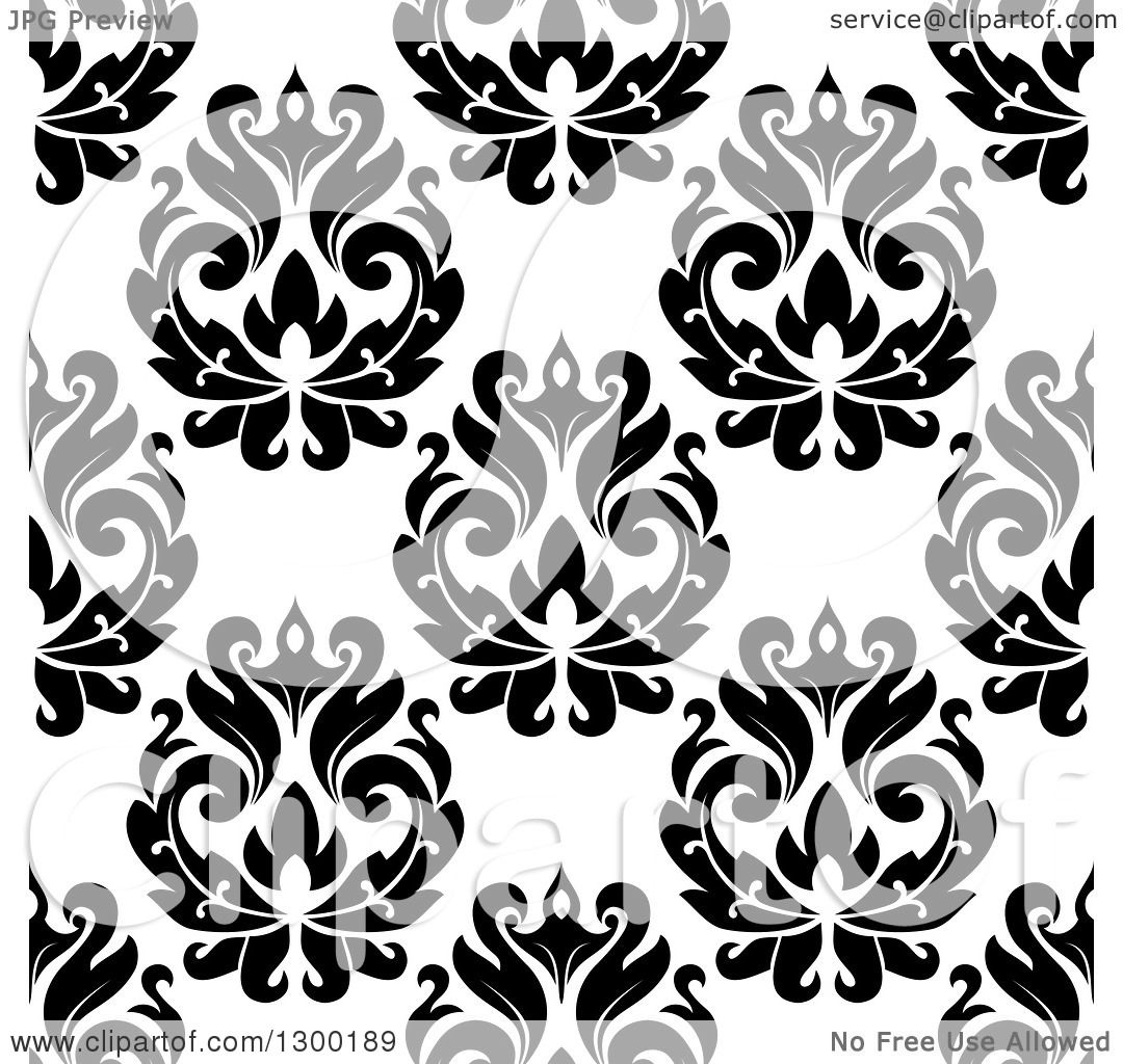 Clipart Of A Black And White Vintage Seamless Floral Background