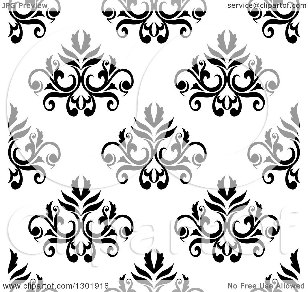 Black To Black Flowers 4: Clipart Of A Black And White Vintage Seamless Floral