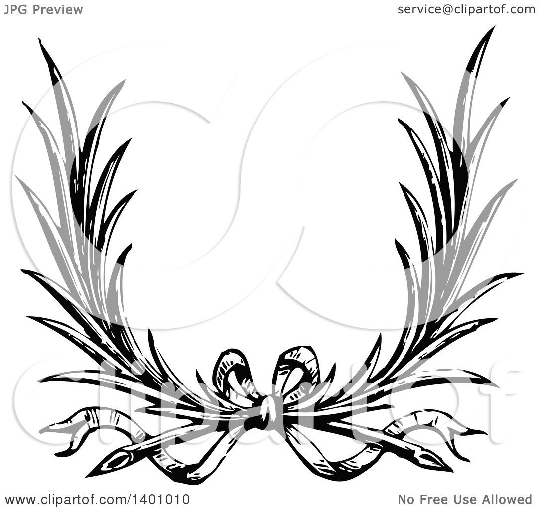 Clipart of a Black and White Vintage Wreath with a Bow ...