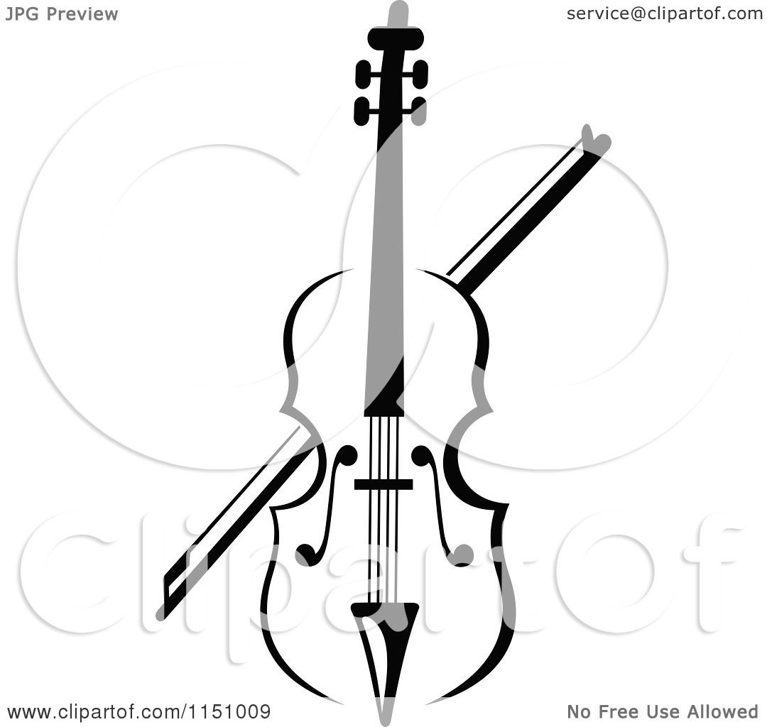 clipart of a black and white viola or fiddle violin 2 - royalty free