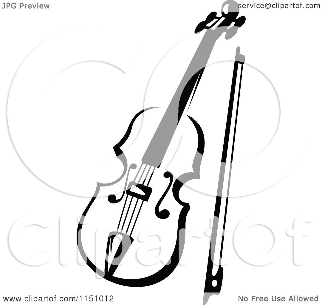 clipart of a black and white viola or fiddle violin 3 - royalty free