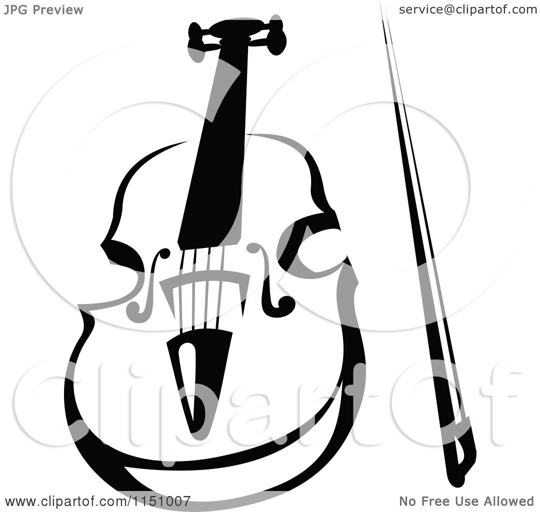 Clipart of a Black and White Viola or Fiddle Violin 4 - Royalty ...