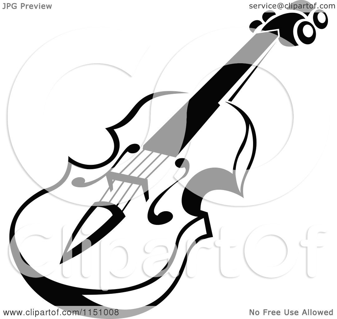 clipart of a black and white viola or fiddle violin 5 - royalty free