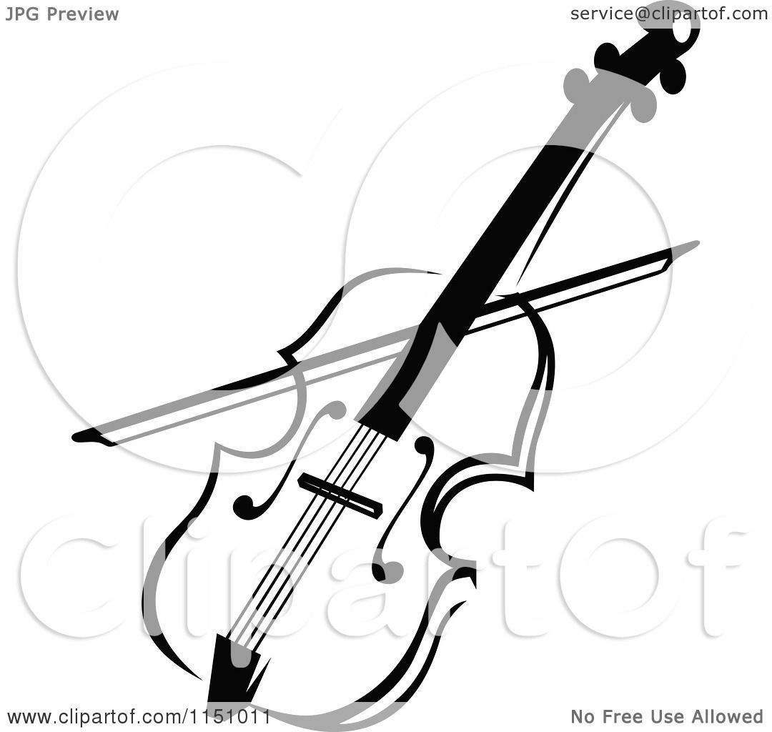 Clipart of a Black and White Viola or Fiddle Violin - Royalty Free ...