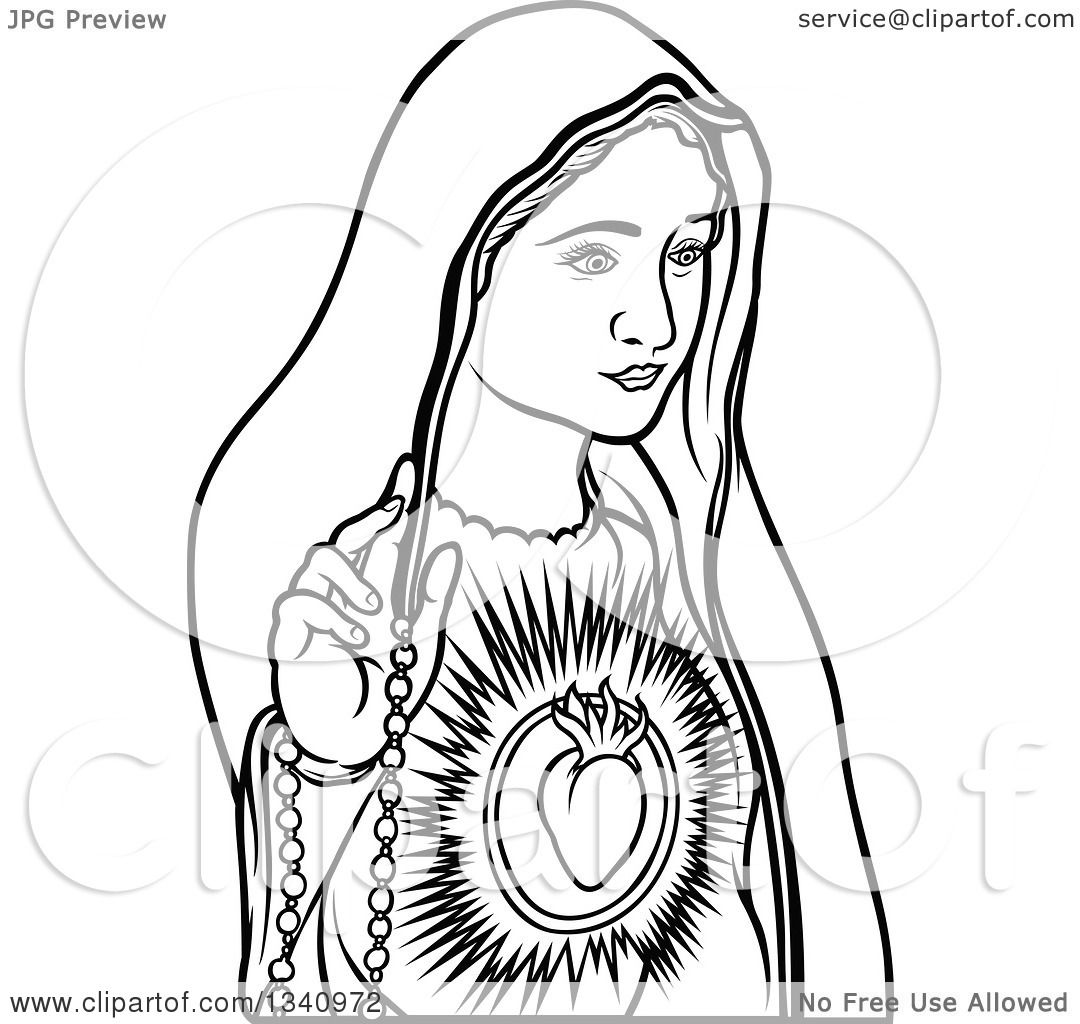 Line Drawing Virgin Mary : Clipart of a black and white virgin mary royalty free