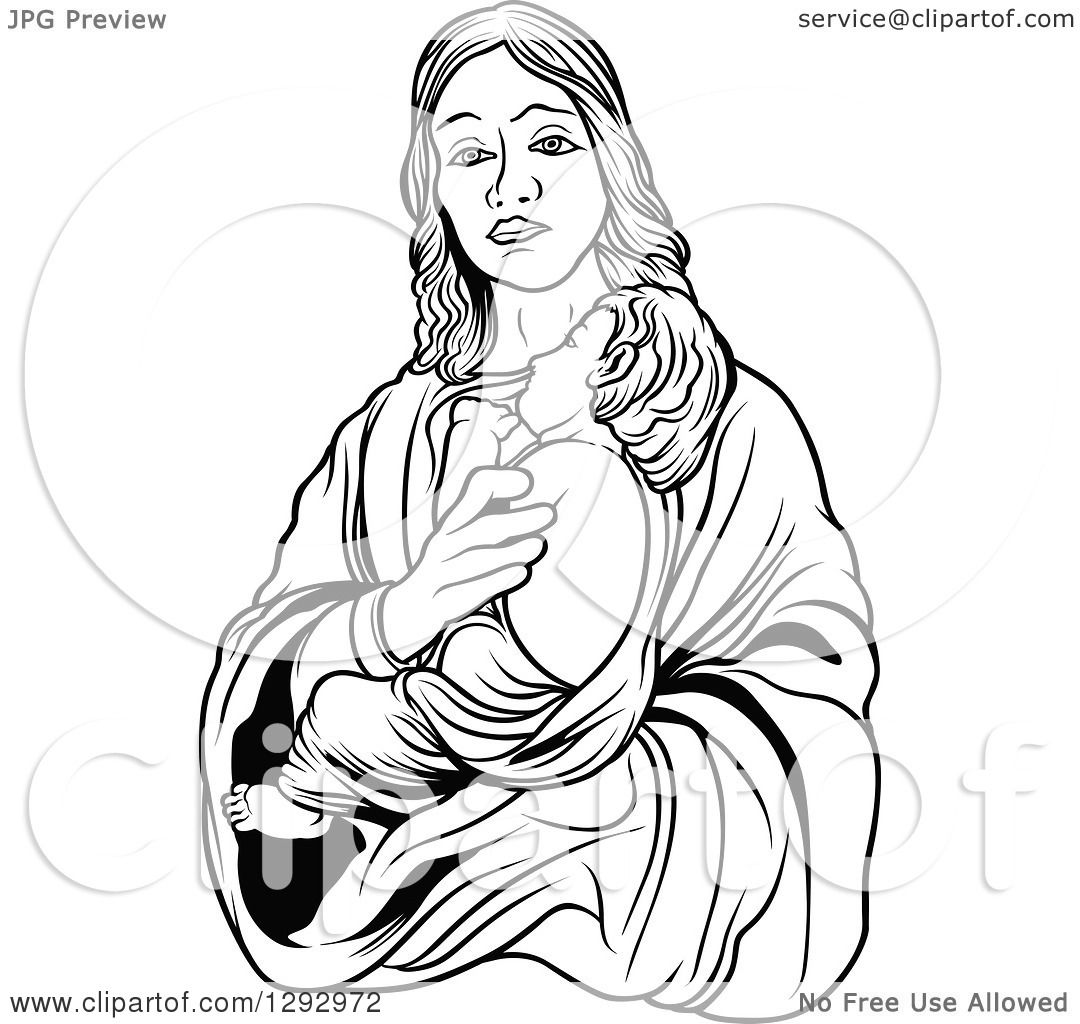 Clipart Of A Black And White Virgin Mary Holding Baby