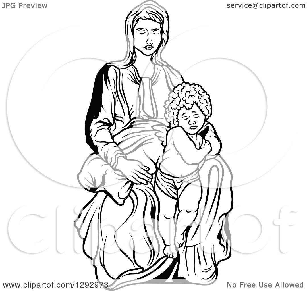 Clipart Of A Black And White Virgin Mary With An Angel Or