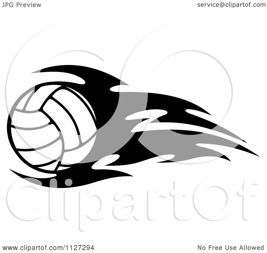 Clipart Of A Black And White Volleyball With Tribal Flames 2 ...