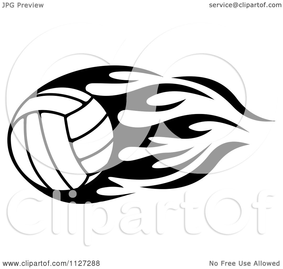clipart of a black and white volleyball with tribal flames 3 rh clipartof com